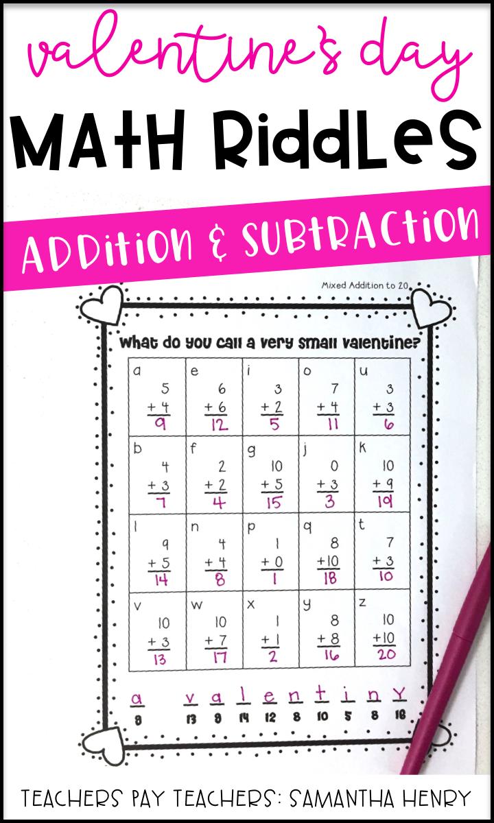 Valentine's Math Riddles Math riddles, Math valentines, Math