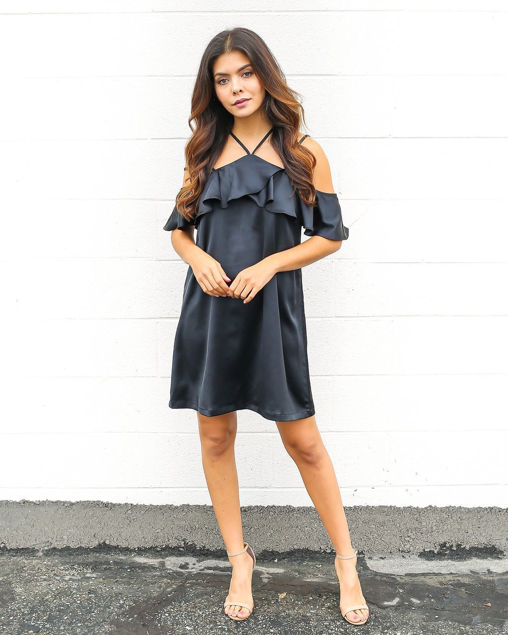 Arial ruffle dress black products pinterest ruffle dress and