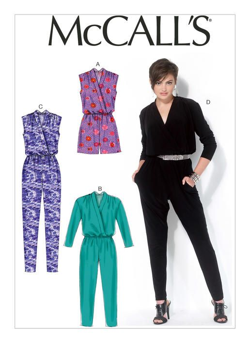 e720d081629 M7099 Misses  Blouson-Bodice Romper and Jumpsuit Loose-fitting romper and  jumpsuits have raised neckline