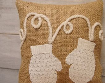Christmas Pillows Burlap Pillow Christmas by thelittlegreenbean