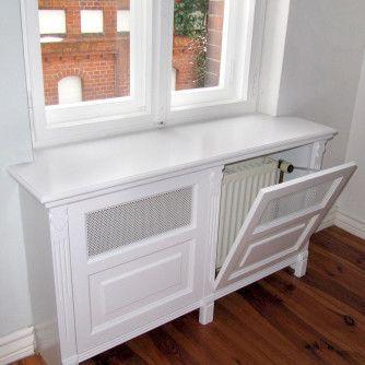 klassische heizungsverkleidung mit f llungen und metallgitter stauraum heizung verkleidung. Black Bedroom Furniture Sets. Home Design Ideas
