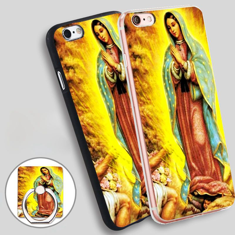 virgen de guadalupe Phone Ring Holder Soft TPU Silicone Case Cover for iPhone 4 4S 5C 5 SE 5S 6 6S 7 Plus