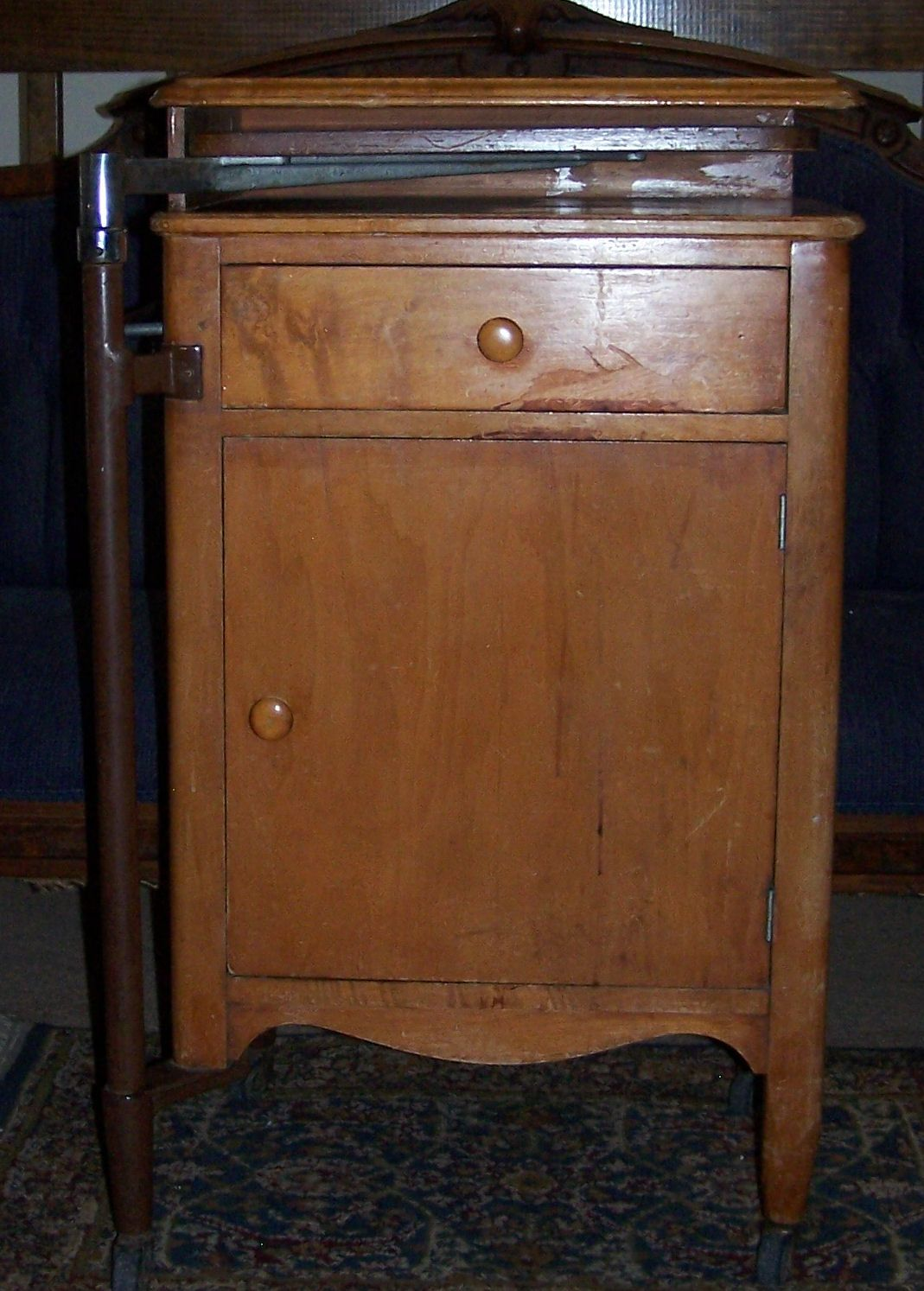 Hospital bedside cabinet - Very Old Cherry Medical Cabinet With Swing Out Arm Hospital Bedside Cabinet