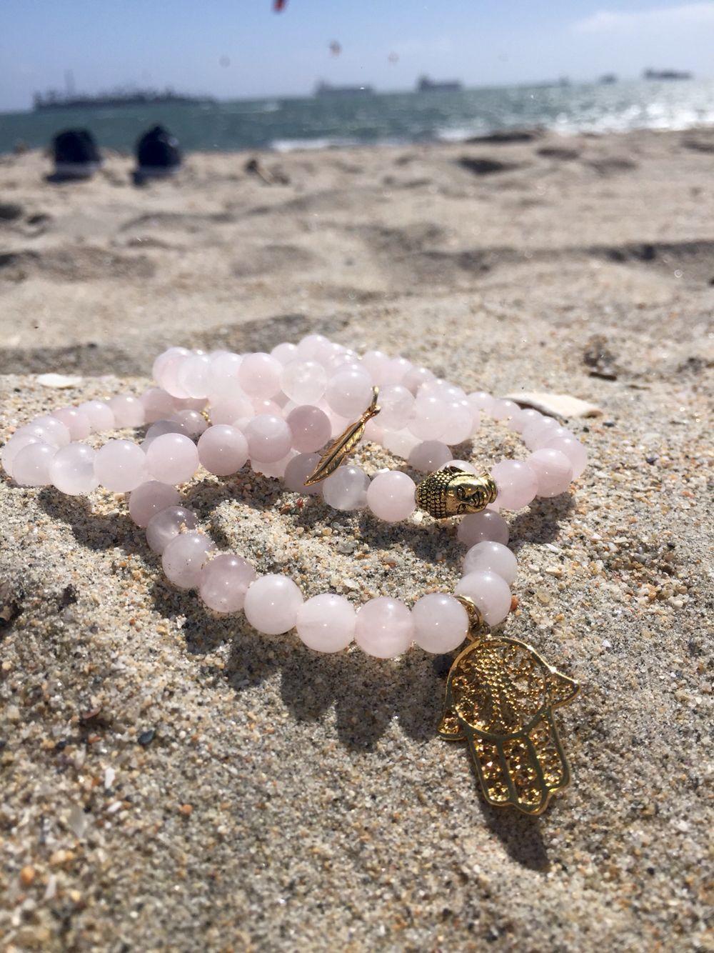 pastel pink bracelet set. www.area50seven.com #pink #pinkjewelry #bohemian #bohemianjewelry #bohemianbracelets #beadedjewelry