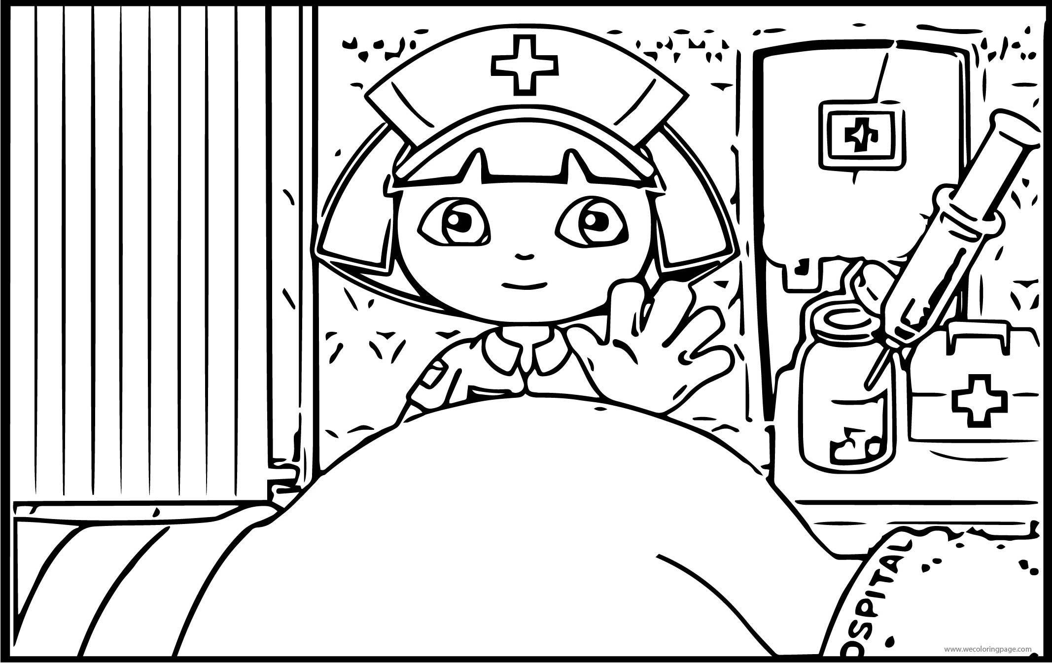 Dora The Explorer In The Hospital Coloring Page , Dora The Explorer ...