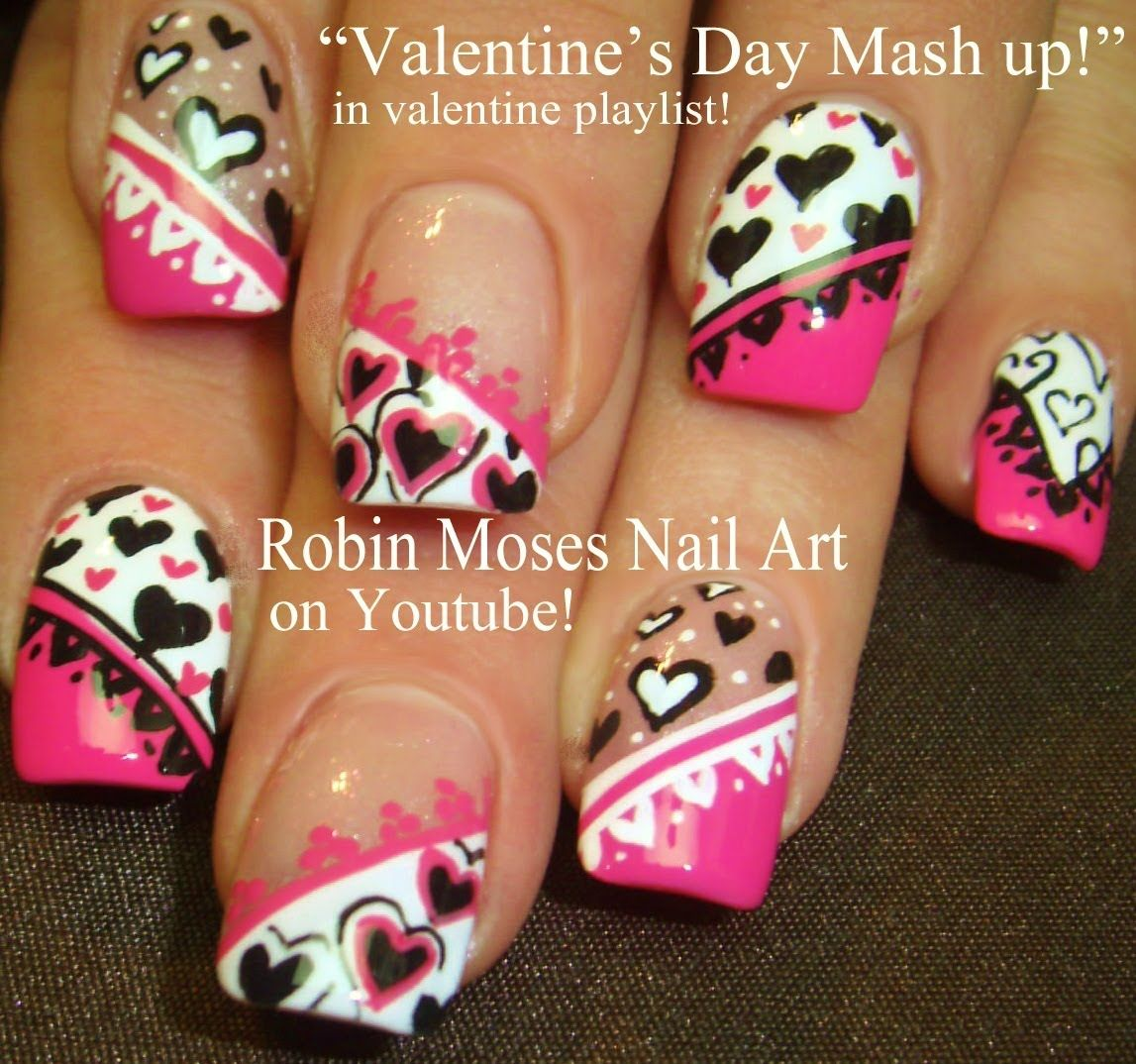 Best Valentine Nails | Pink Black & White Hearts mixed Nail Art Designs