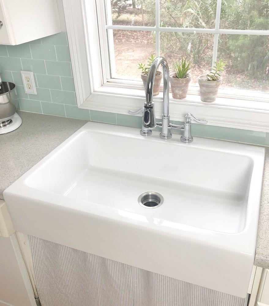 How To Install A Farmhouse Drop In Sink Diy Drop In Farmhouse
