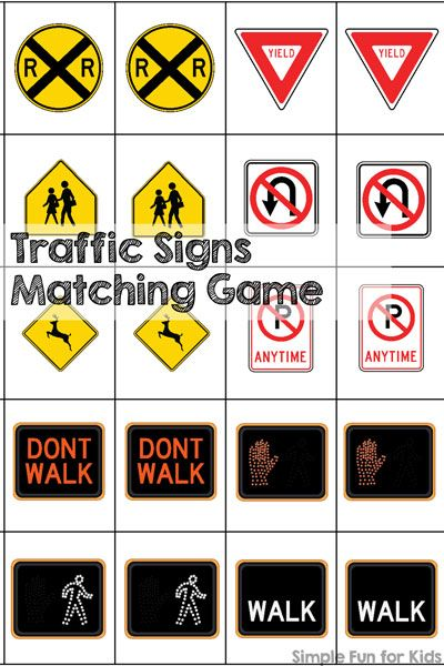 Traffic Signs Matching Game Printable | Kids learning ...
