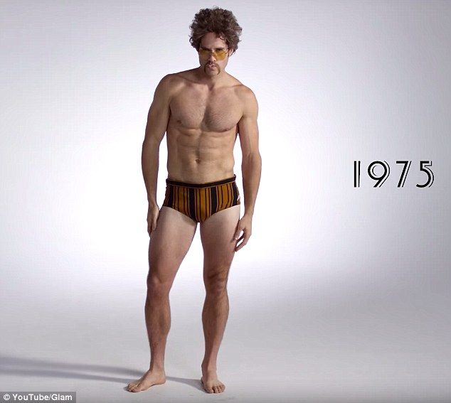 658b11a77e0d9 1975: Men shed even more fabric in the 1970s, embracing the skin-baring  swimsuit known as the Speedo