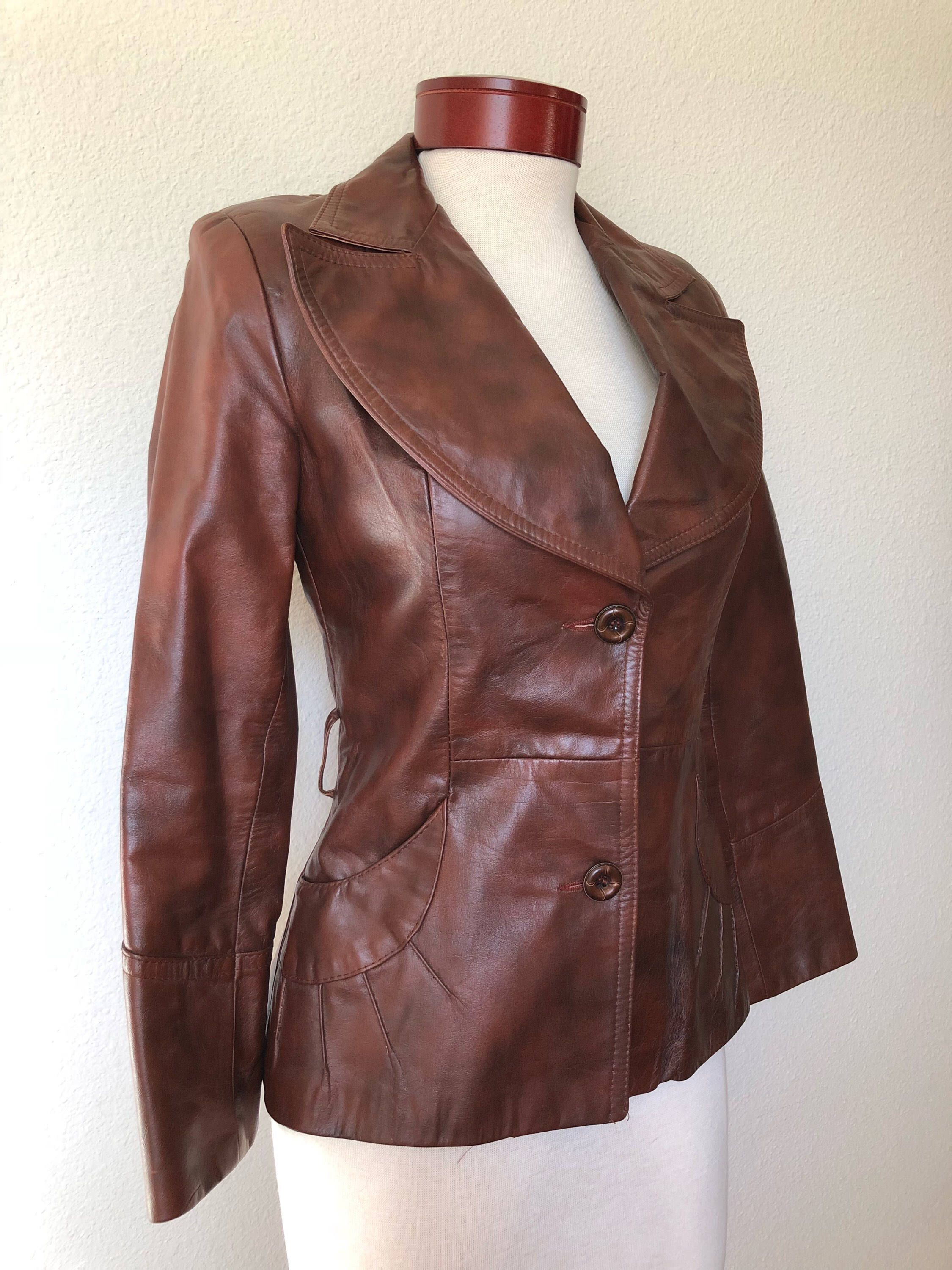 Vintage 70s Brown Leather Jacket Fitted Steampunk 1970s Gassy Etsy Leather Jacket Brown Leather Jacket Outfit Dark Brown Leather Jacket [ 3000 x 2250 Pixel ]