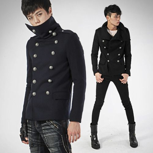 High Neck Double Breasted Military Jacket | Fashion | Pinterest ...