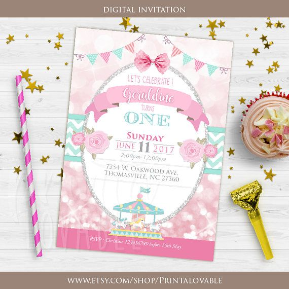 Invitación Digital Invitación De Cumpleaños De Carrusel