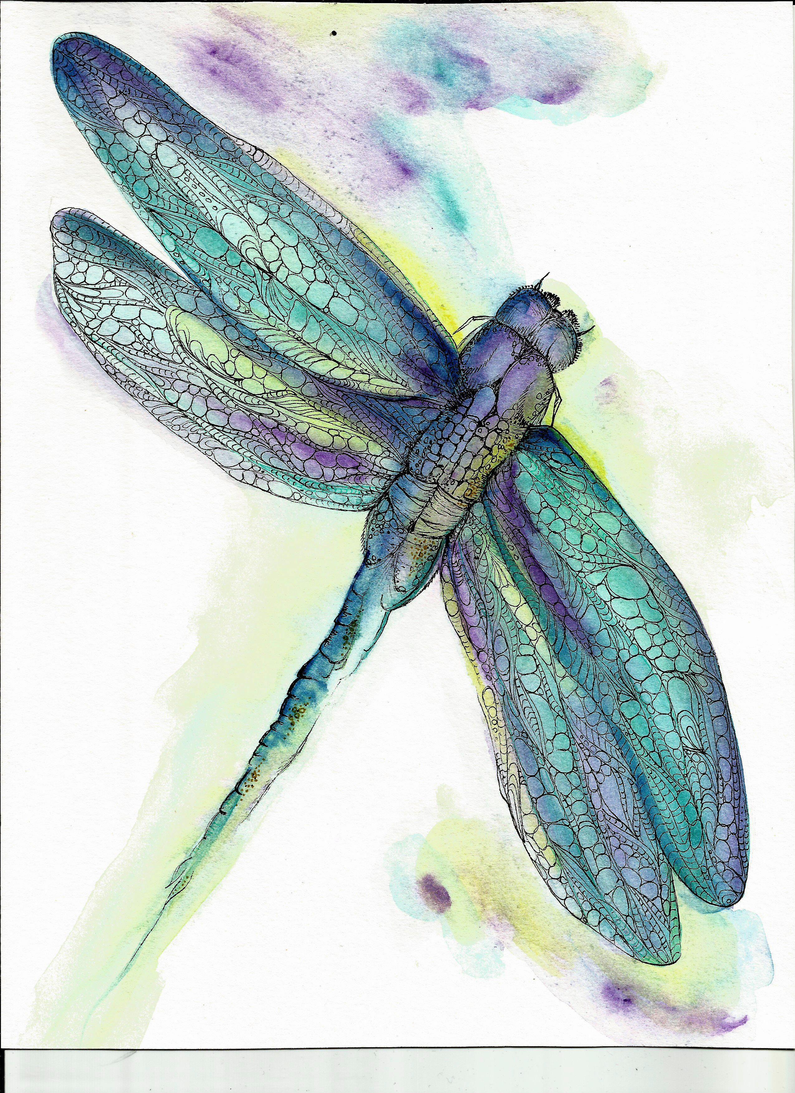 Watercolors Dragonfly Art Print | ART - Watercolor | Pinterest ...