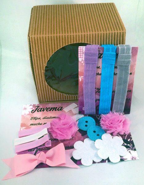 diademas kit para hacer diademas en gris azul y lila hecho a mano por