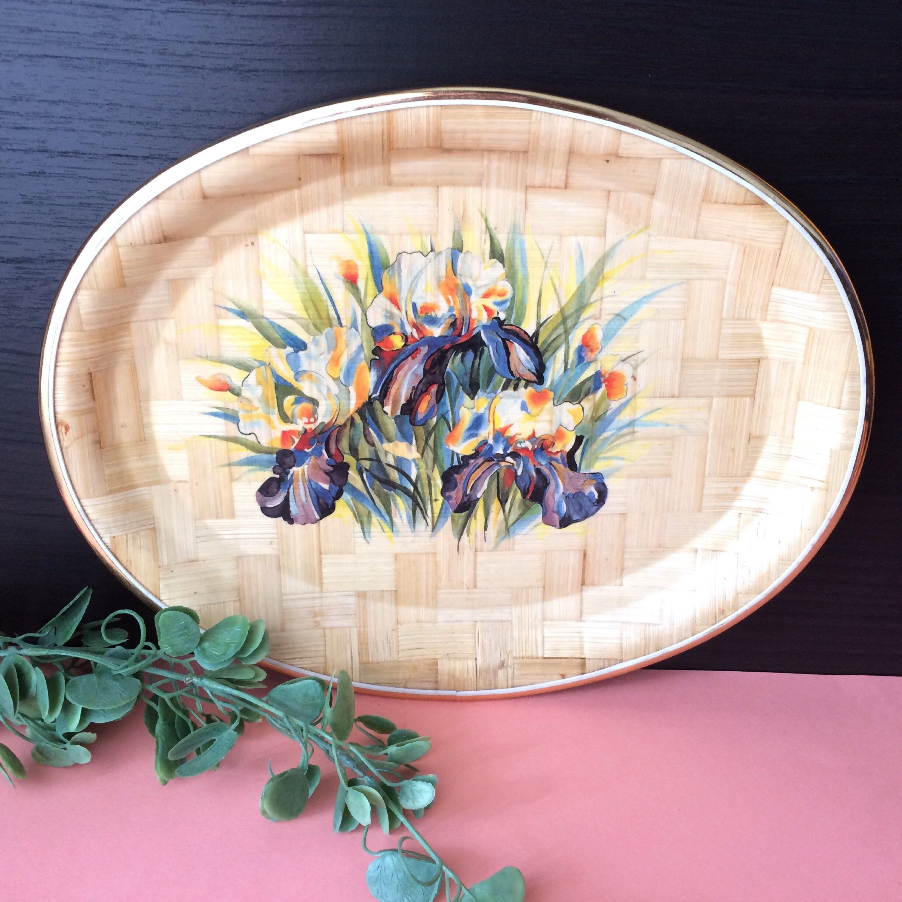Bamboo Flower Tray Pressed Bamboo Plate Gold Trimmed Bamboo Tray