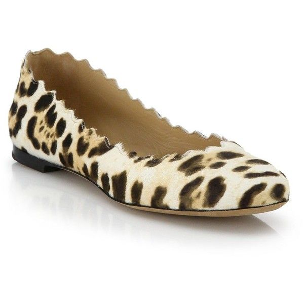 e3cbca054 Chloe Scalloped Leopard-Print Suede Ballet Flats ($725) ❤ liked on Polyvore  featuring shoes, flats, apparel & accessories, leopard, round toe flats,  chloe ...