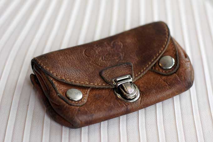 Vintage French leather multi-compartment coin purse