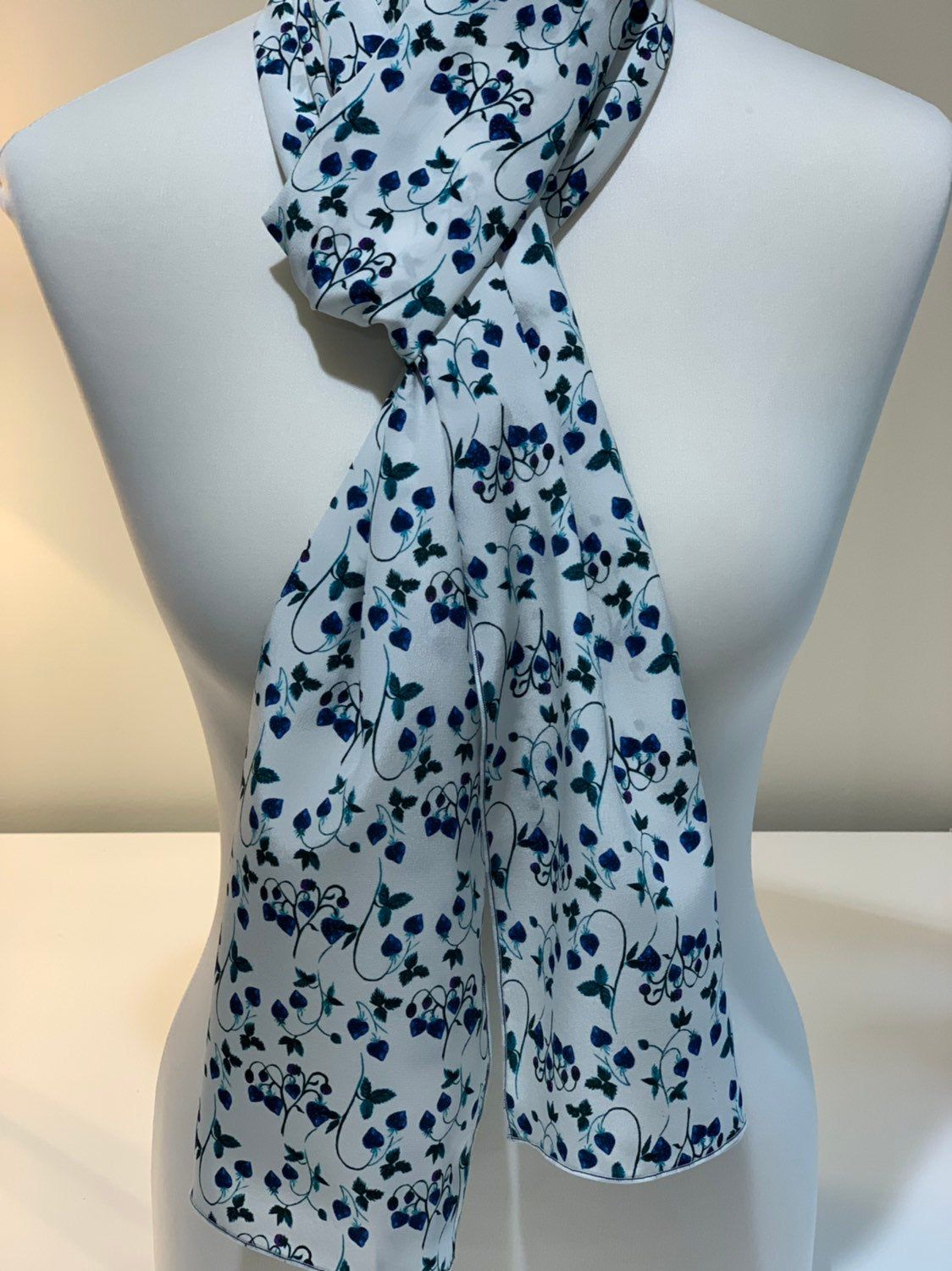 100 Silk Scarf Created With Liberty Of London Crepe De Chine Strawberry Fields Navy Blue White 33x195cm Liberty Of London Blue White Silk