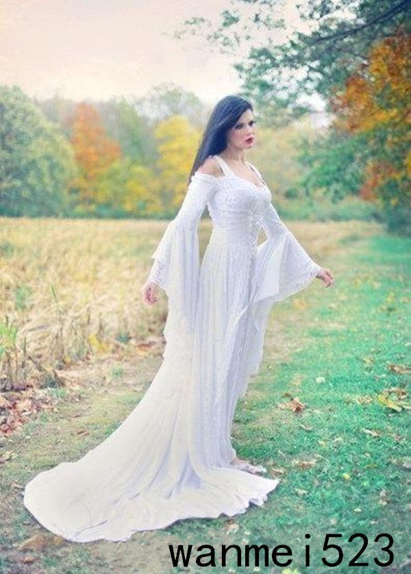 Nice 2018 Renaissance Handmade Bell Sleeve Wedding Dress Celtic ...