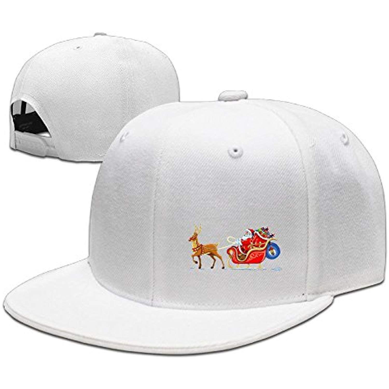 Christmas Santa Flying Reindeer Sleigh Hip Hop Flat Brim Cap Men Womens Baseball  Hat Funny Slogan Adjustable Snapback Cool Plain Trucker Hats For Dance ... f66f07678c50