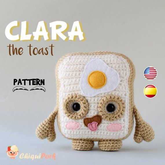 Crochet Toast PATTERN, Amigurumi toast pattern pdf tutorial - CLARA ...