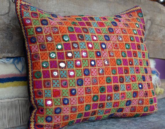 Indian Mirrored Cushion Bohemian Pillow 70 39 S Decor Hand Tribal Pillow Case Kutch Work Designs Hand Embroidered Pillows