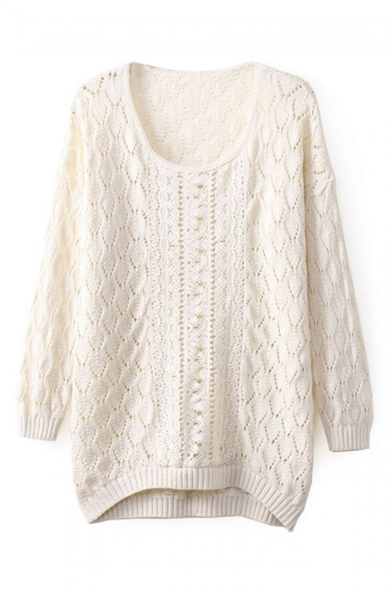 Asymmetric Hollow-out Cream Jumper | Cream jumper, Jumpers and Jumper