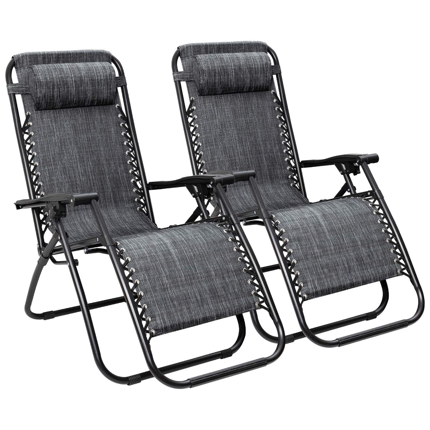 Zero Gravity Chairs Set of 2 with Pillow Patio Outdoor Adjustable Dining Reclining Folding Chairs for Deck Patio Beach Yard
