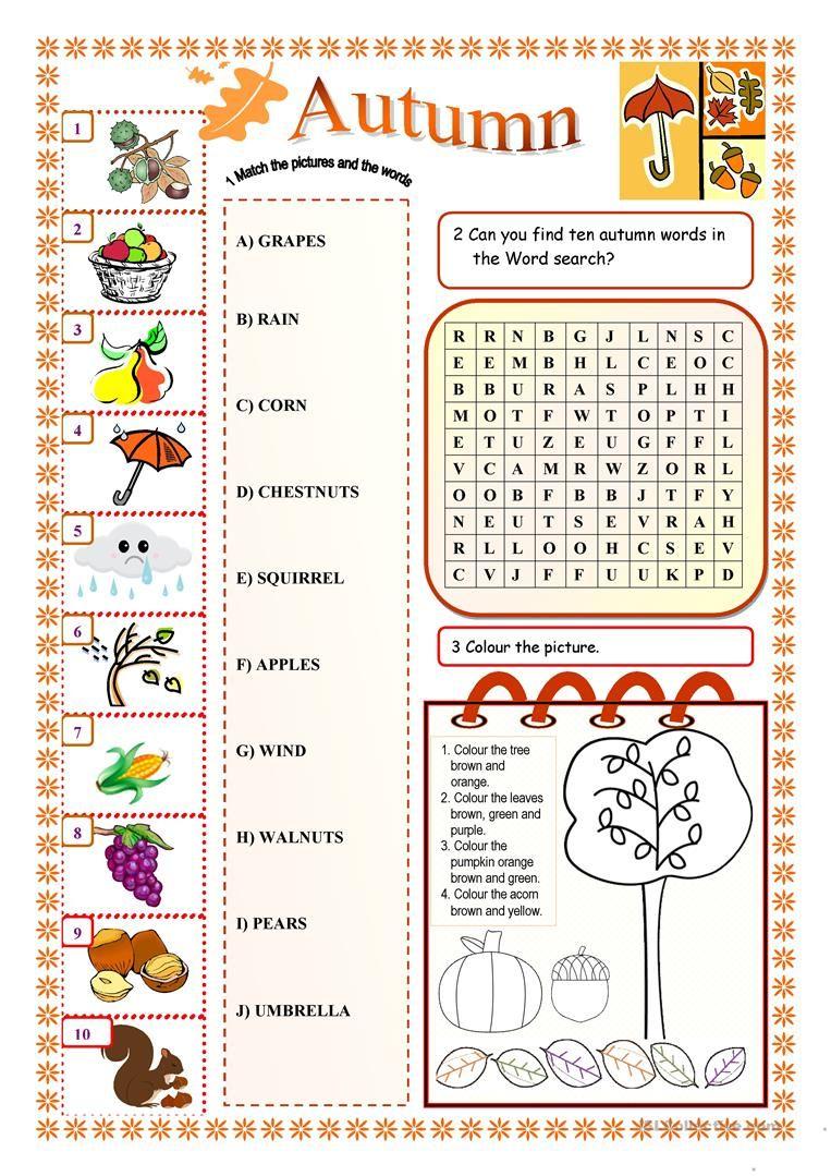 worksheet Esol Worksheets autumn worksheet free esl printable worksheets made by teachers teachers