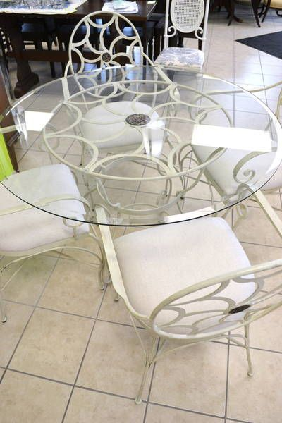 Round Beveled Glass Dining Table With Slightly Distressed Cream - Wrought iron round glass dining table