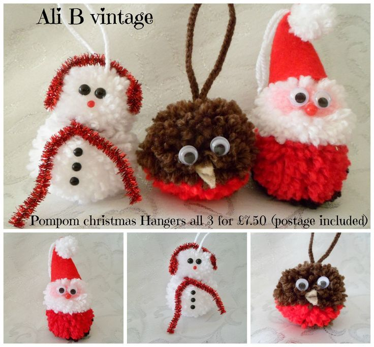 Christmas Pompom Hanging Santa Snowman And Robin 3 The