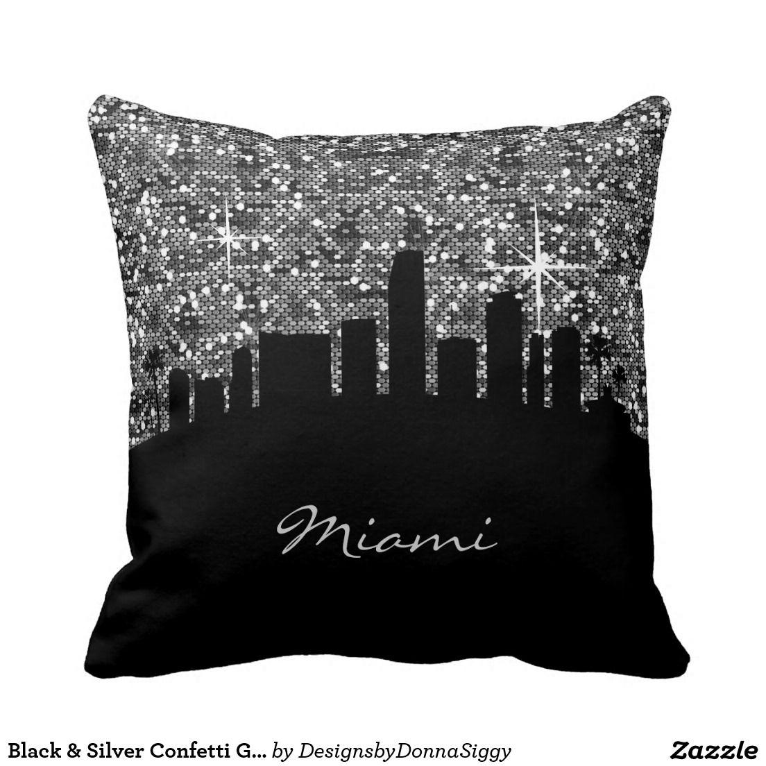 #Black & #Silver #Confetti Glitter #Miami #Skyline #Pillow #zazzlebesties #zazzle #home #shopping