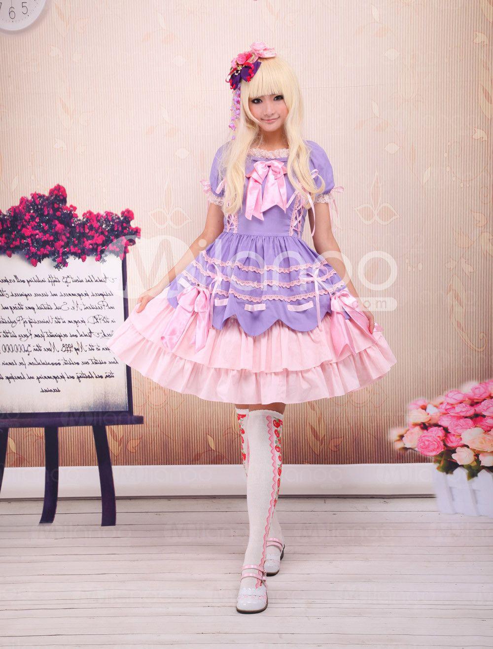 Light Purple And Pink Cotton Bandage Ruffle Bow Sweet Lolita Dress ...
