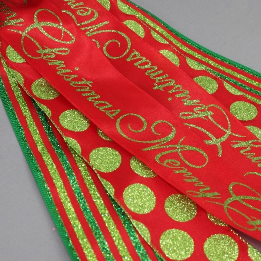 Merry Christmas Sparkle Dot Stripe Christmas Tree Bow - Package Perfect Bows