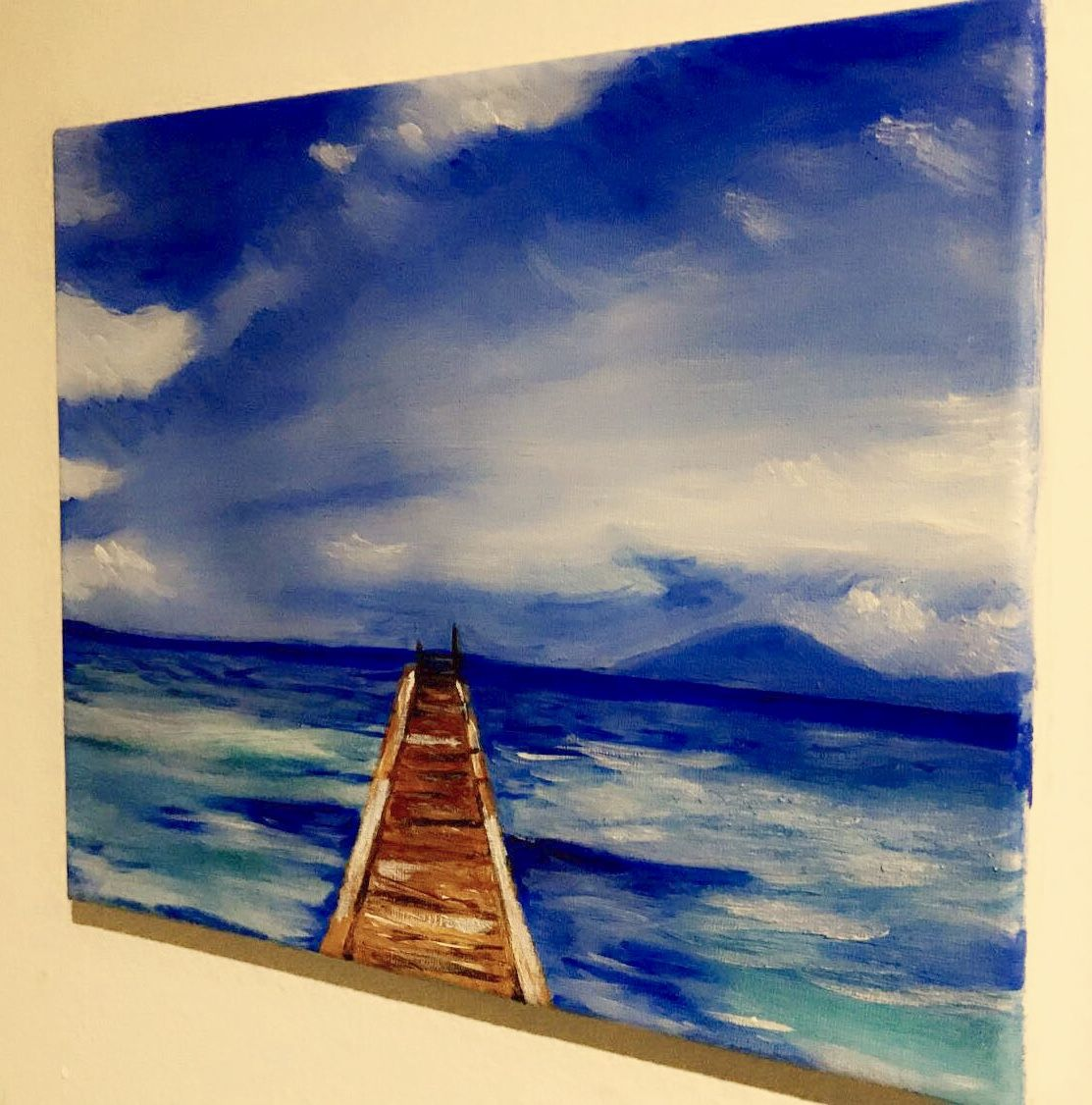 Beach View Bridge Port Ocean Clouds Blue Sky