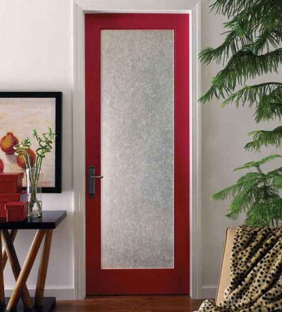 Interior Door With Frosted Glass Panel And Red Door Frame Home