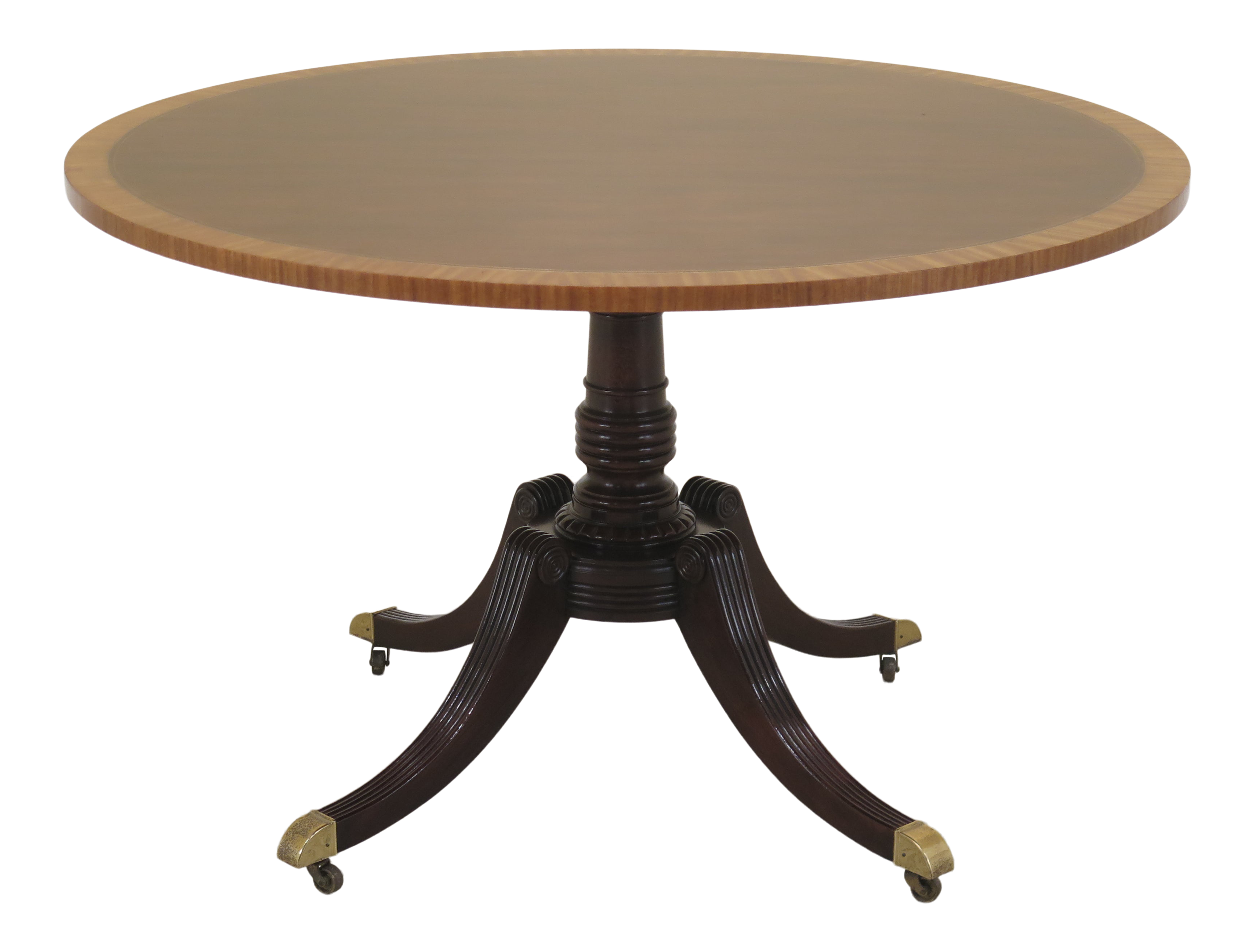 1990s Vintage Baker Round Banded Top Mahogany Dining Table Mahogany Dining Table Dining Table Table [ 2626 x 3462 Pixel ]