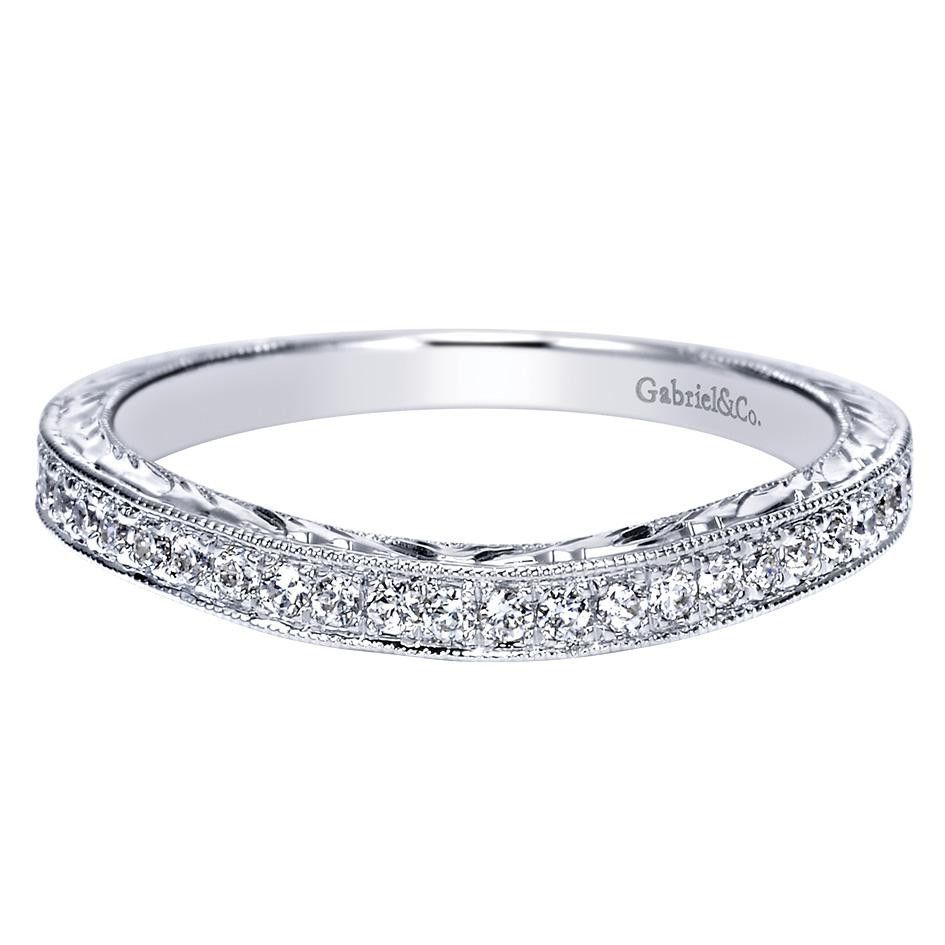020 ct fg si diamond curved wedding band in 14k white
