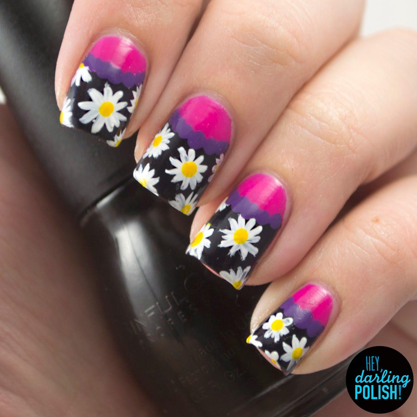 nails, nail art, nail polish, polish, theme buffet, daisies, flowers ...