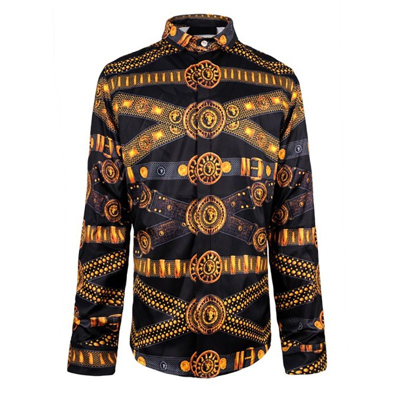 Click to Buy    Fashion Design Printed Men Slim Fit Shirt Chemise Homme 2d9baba2225