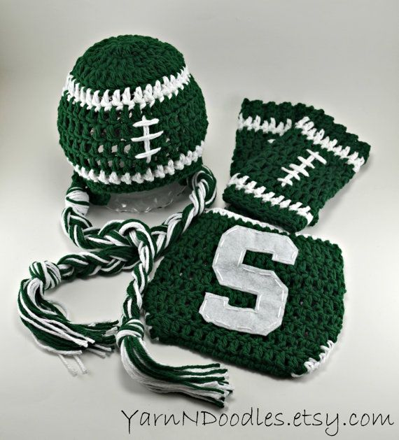 Infant Newborn Baby Boy Crochet Michigan State Football Spartan Hat Leg Warmers Diaper Cover Photo Prop Set Halloween on Etsy, $68.99