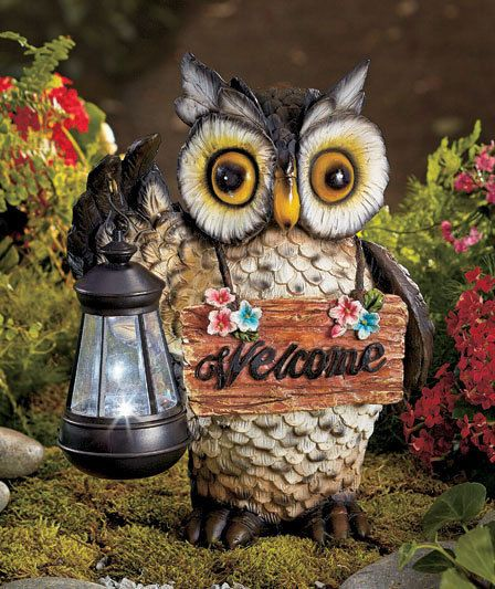 Exceptional Owl Welcome Statue With Solar Lantern, Garden Decor, Statues, Yard Art,  Anima