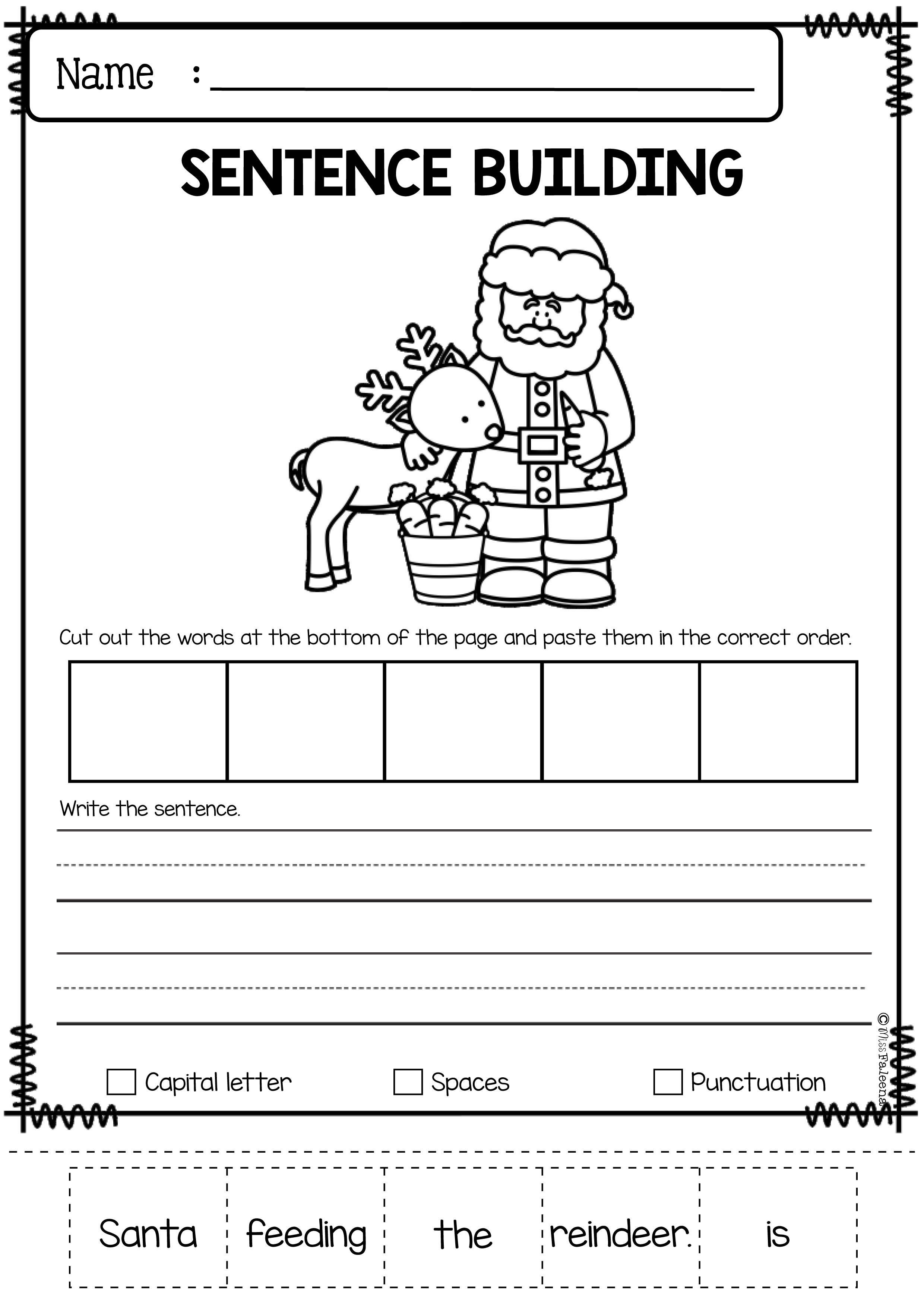Christmas Activities For Kindergarten Math And Literacy No Prep Printables Kindergarten Writing First Grade Writing 1st Grade Writing [ 1474 x 1042 Pixel ]