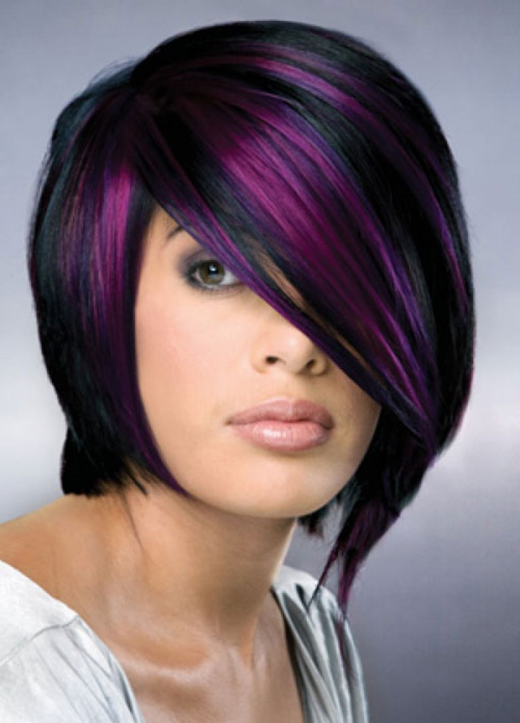 black hair with purple highlights - new hairstyles trend purple