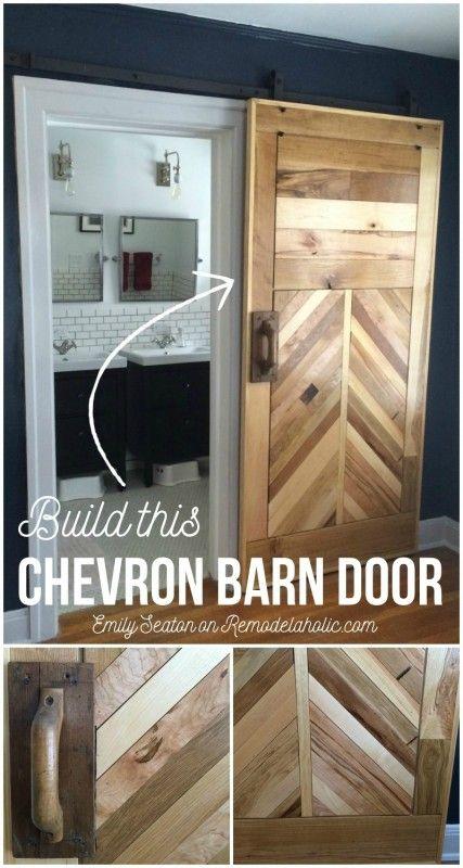 Remodelaholic How To Build A Wood Chevron Barn Door Barn Door Designs Barn Doors Sliding Diy Barn Door
