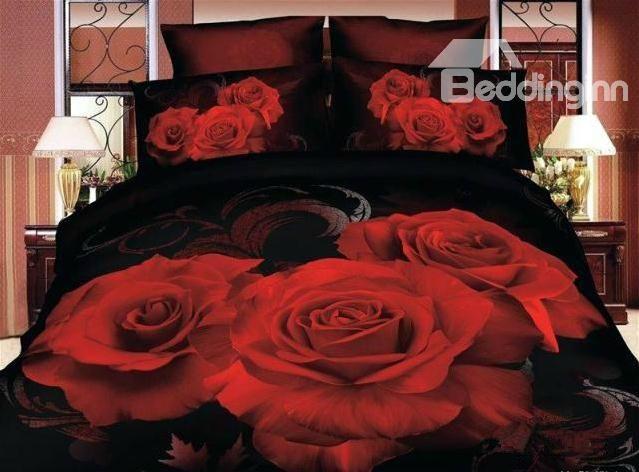 Beautiful Big Roses Print 3d Flower Bedding Sets 4 Piece Duvet Cover Sets Rose Bedding Bedding Sets Rose Comforter