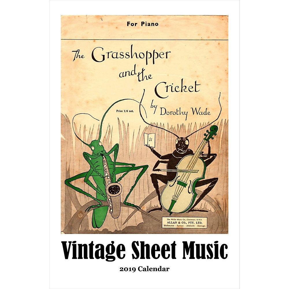 Retrospect Monthly Wall Calendar, Vintage Sheet Music, 19-1/4 x 12-1/2, Multicolor, January to December 2019 #vintagesheetmusic