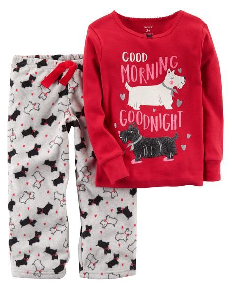 1a73f01fd5f3 2-Piece Dog Cotton   Fleece PJs