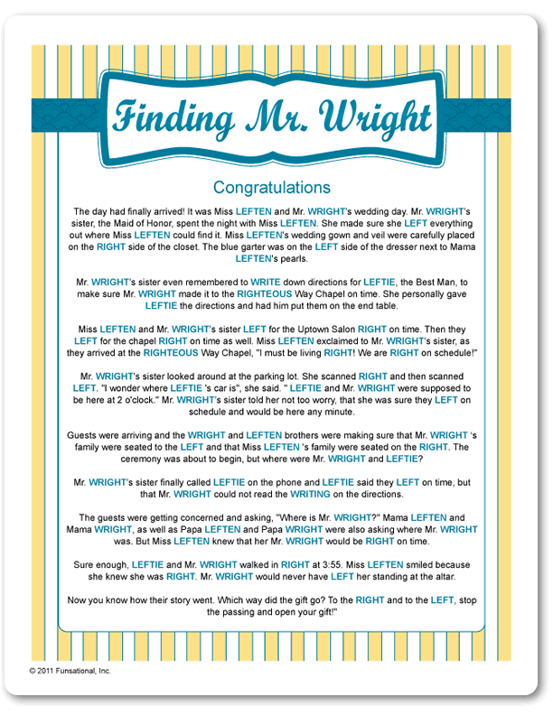 Printable Finding Mr Wright