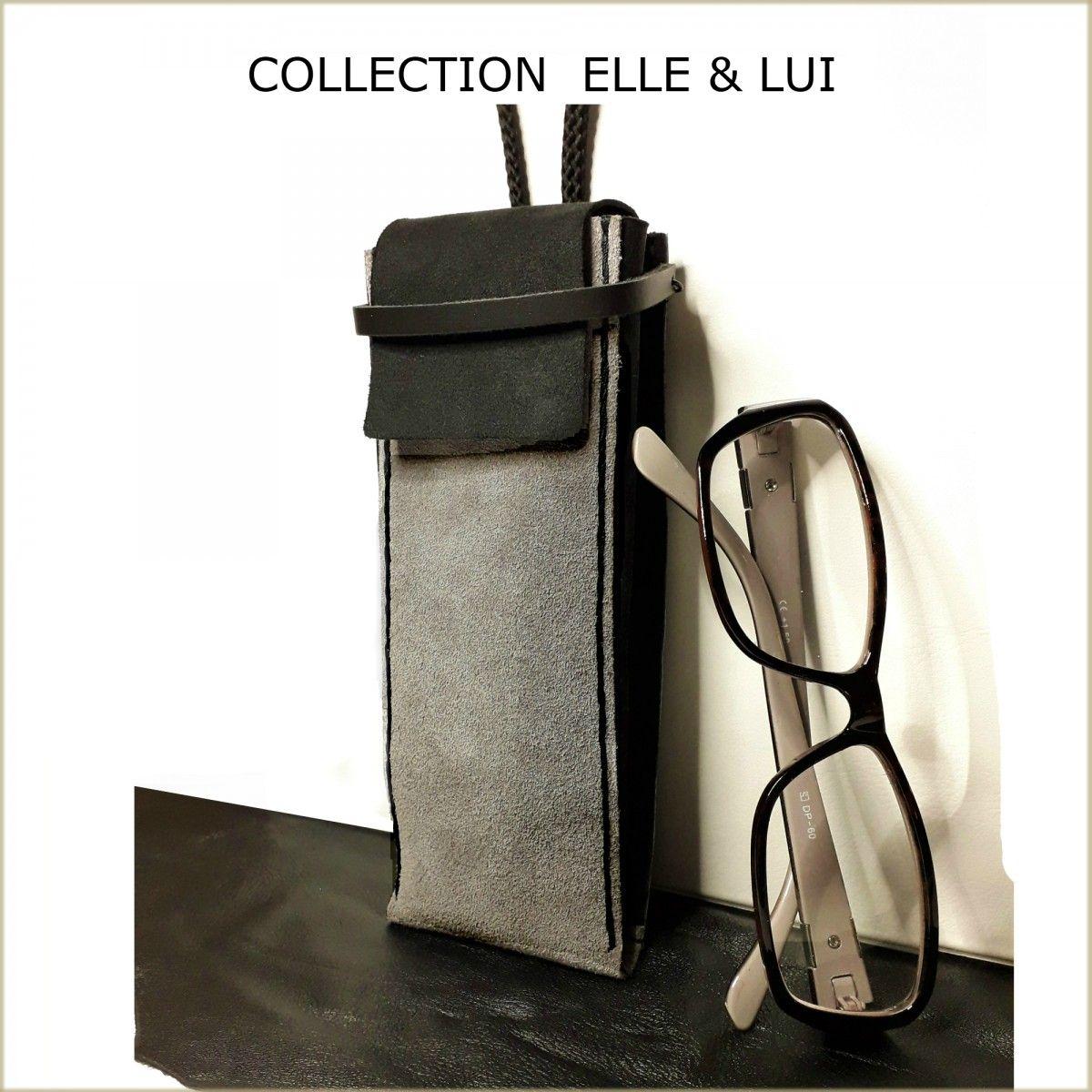 Vente nouvelle arrivée vente usa en ligne Etui à lunettes tour de cou - Etui à lunettes en cuir gris ...